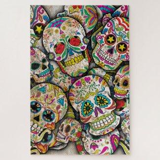 Sugar Skull Collage Jigsaw Puzzle