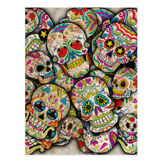 Sugar Skull Collage Post Card
