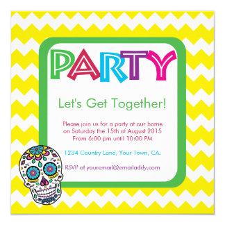 Sugar Skull Color Party Invitation