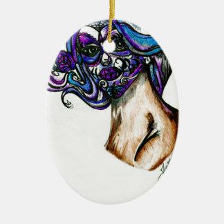 SUGAR SKULL COLORED DRAWING IN PEN ORIGINAL.jpg Ceramic Ornament