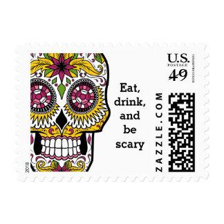 Sugar skull colorful postage