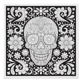 Sugar Skull Coloring Poster - Colorable Skull Art