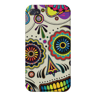Sugar Skull Colors  Cover For iPhone 4