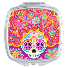 Sugar Skull Compact Mirror - Skull w/ Big Hairdo