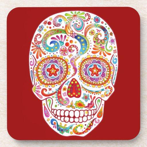 Sugar Skull Cork Coasters - Set of 6