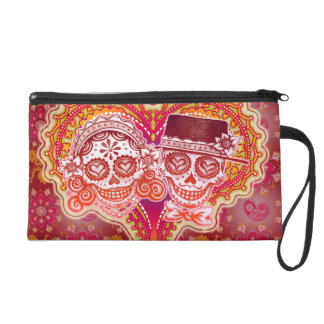 Sugar Skull Couple Bag - Clutch Cosmetic Accessory Wristlets