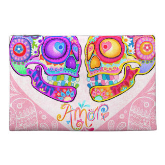 Sugar Skull Couple Bag - Clutch Cosmetic Accessory Travel Accessory Bags