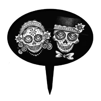 Sugar Skull Couple Cake Topper