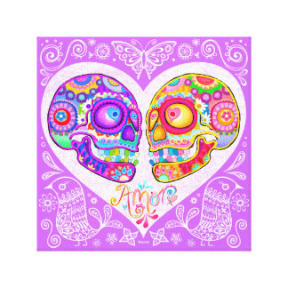 Sugar Skull Couple Gallery Wrapped Canvas