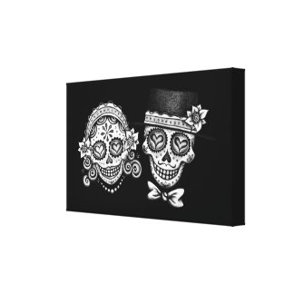 Sugar Skull Couple Canvas Print