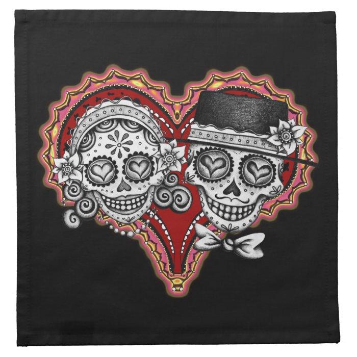 Sugar Skull Couple Cloth Cocktail Napkins Set 4