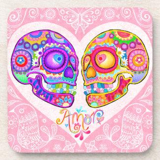 Sugar Skull Couple Coasters - Colorful Set of 6