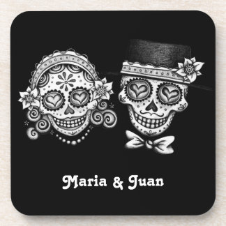 Sugar Skull Couple Coasters Set (6)- Customize it!