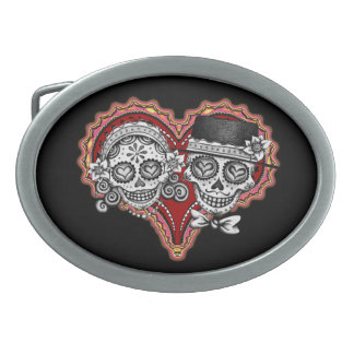 Sugar Skull Couple Day of the Dead Belt Buckle