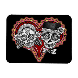 Sugar Skull Couple Day of the Dead Premium Magnet