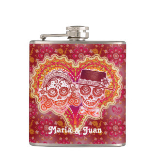 Sugar Skull Couple in Heart - Flask - CUSTOMIZE IT