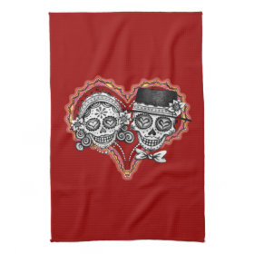 Sugar Skull Couple Kitchen Towel - Day of the Dead