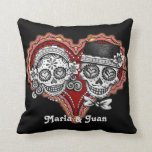 "Sugar Skull Couple Pillow - Customize it!<br><div class=""desc"">This Sugar Skull Couple Day of the Dead pillow features a smiling sugar skull couple - a beautiful female and a handsome male calavera, intricately decorated with Dia de los Muertos designs. This Los Novios Dia de los Muertos Sugar Skull Couple pillow is perfect for people who love Day of...</div>"