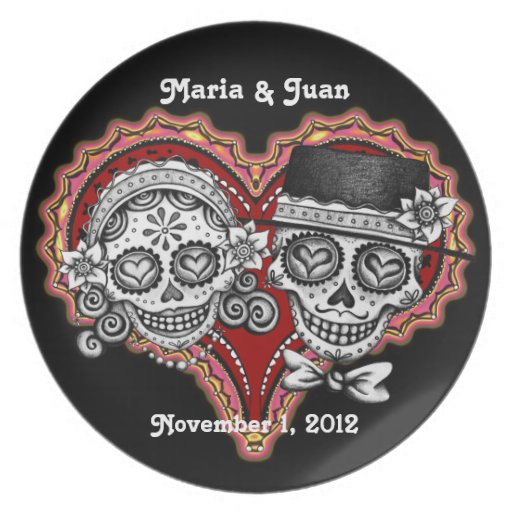 Sugar Skull Couple Plate - Customize for Wedding!