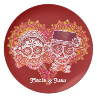 Sugar Skull Couple Plate - Customize with names