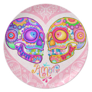 Sugar Skull Couple Plate - Day of the Dead Art