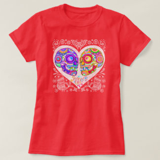 Sugar Skull Couple Shirt - Heart Love Skulls Art