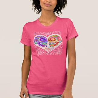 Sugar Skull Couple Shirt - Heart Love Skulls Art