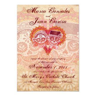 Sugar Skull Couple Wedding Invitations 5x7