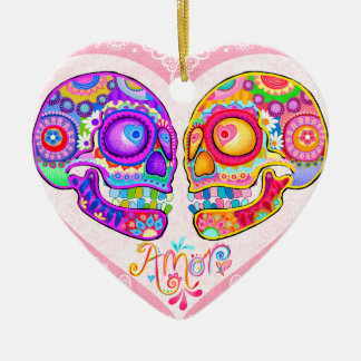 Sugar Skull Couple Wedding Ornament - Love Heart