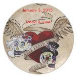 Sugar Skull Couple Wedding Plate