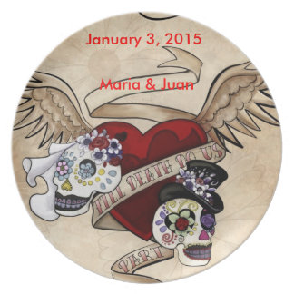 Sugar Skull Couple Wedding Plate