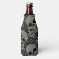 Sugar Skull Crossbones Pattern Bottle Cooler