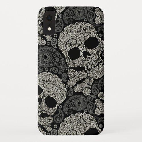 Sugar Skull Crossbones Pattern iPhone XR Case Phone Case