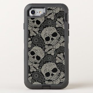 Sugar Skull Crossbones Pattern OtterBox Defender iPhone 8/7 Case