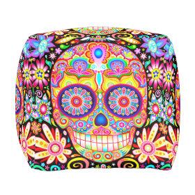 Sugar Skull Cube Pouf
