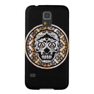 Sugar Skull Damask Metallic Silver and Copper Galaxy S5 Cover