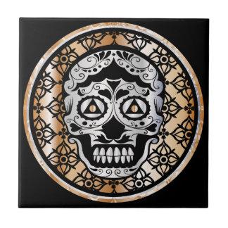 Sugar Skull Damask Metallic Silver and Copper Tile