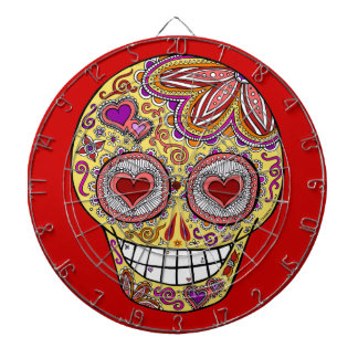 Sugar Skull Dartboard Love Heart Eyes