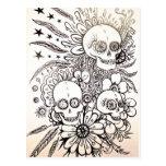 sugar skull day of dead tattoo art post card art