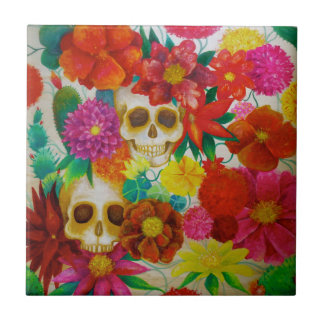 sugar skull day of dead tattoo Mexican tile