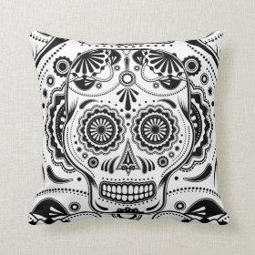 Sugar Skull Day of the Dead Art Black White pillow