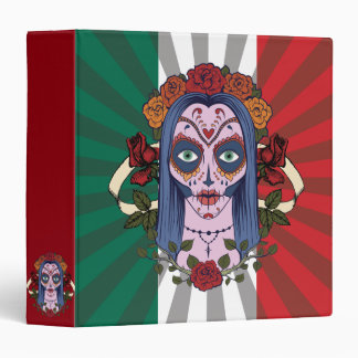 Sugar Skull Day Of The Dead Bride Red Roses 3 Ring Binders