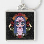 Sugar Skull Day Of The Dead Bride Red Roses Keychain