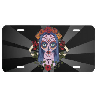 Sugar Skull Day Of The Dead Bride Red Roses License Plate