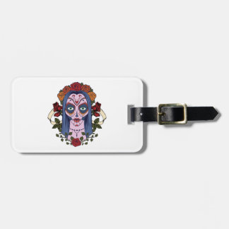 Sugar Skull Day Of The Dead Bride Red Roses Luggage Tag