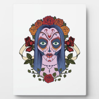sugar skull day of the dead bride red roses plaque
