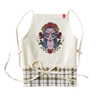 Sugar Skull Day Of The Dead Bride Red Roses Zazzle HEART Apron