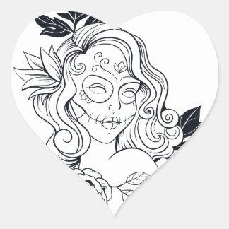 Sugar Skull Day Of The Dead  CALAVEREAR Heart Sticker