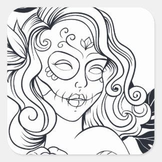 Sugar Skull Day Of The Dead  CALAVEREAR Square Sticker