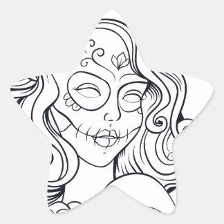 Sugar Skull Day Of The Dead  CALAVEREAR Star Sticker